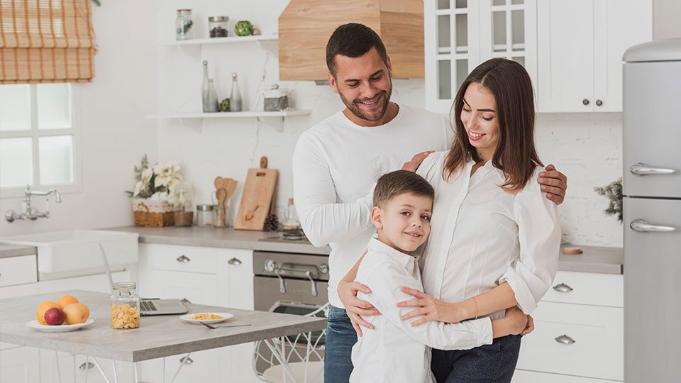 Kitchen remodeling happy family