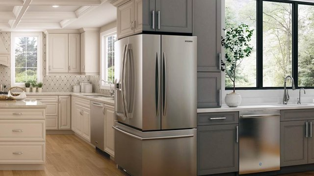 Cream and gray kitchen cabinets