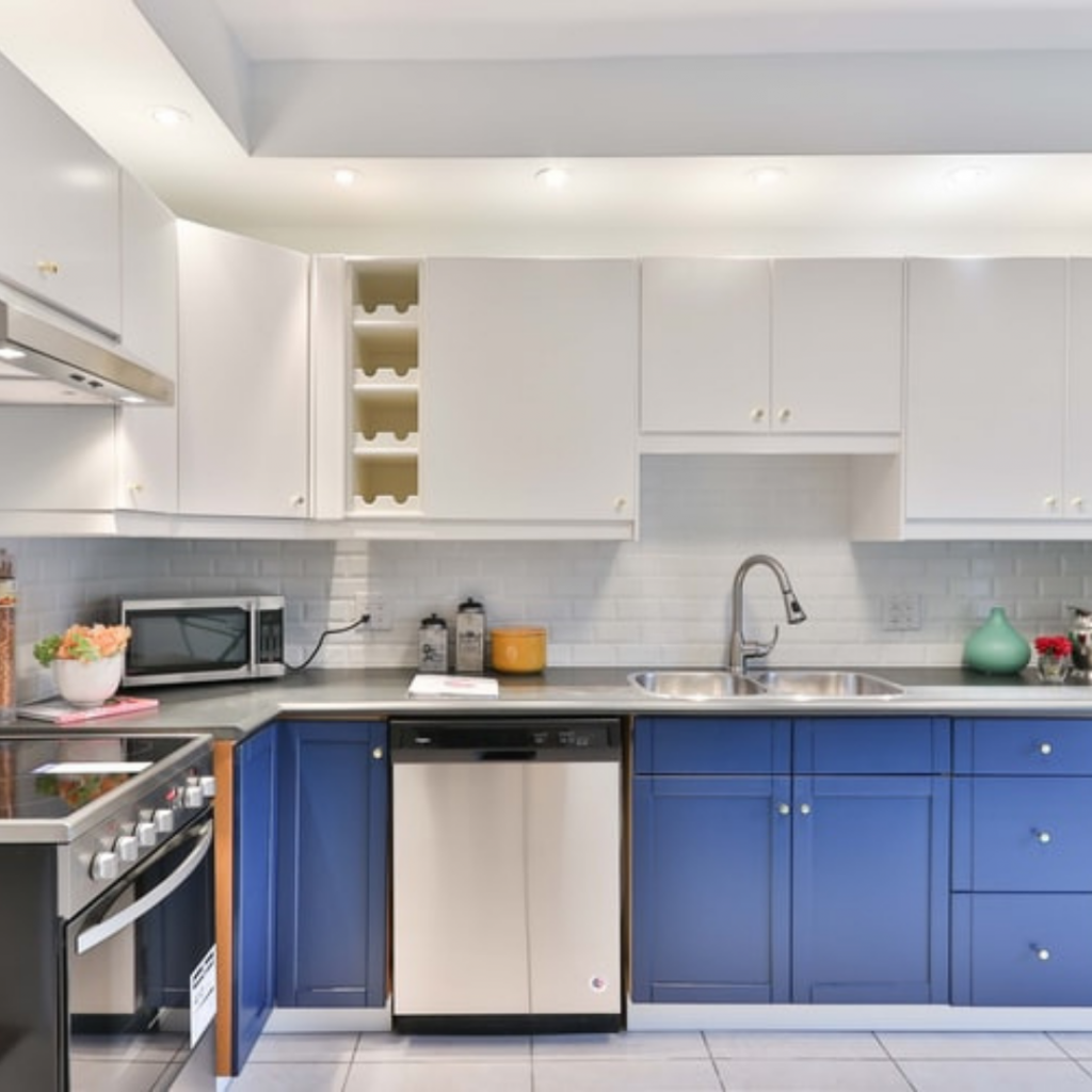 Modern Blue and White Kitchen Cabinets