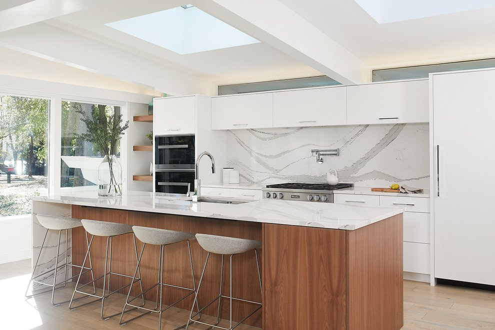 Modern White Kitchen Cabinets With A Splash