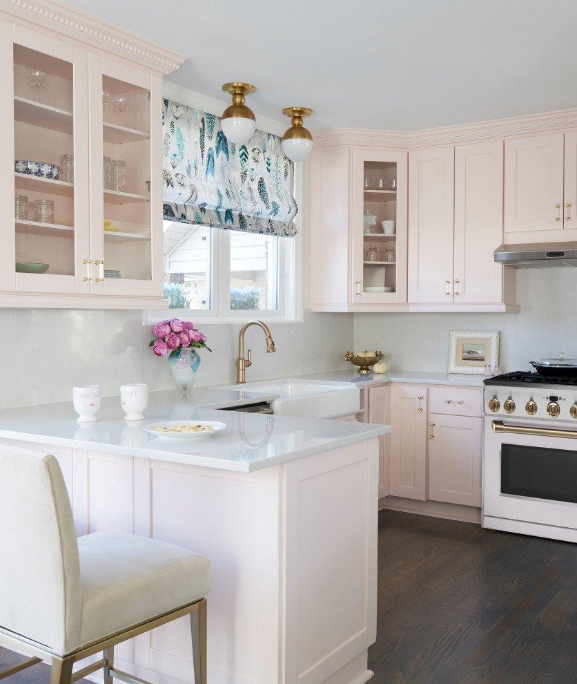 Blushing Pink Painted Kitchen Cabinets