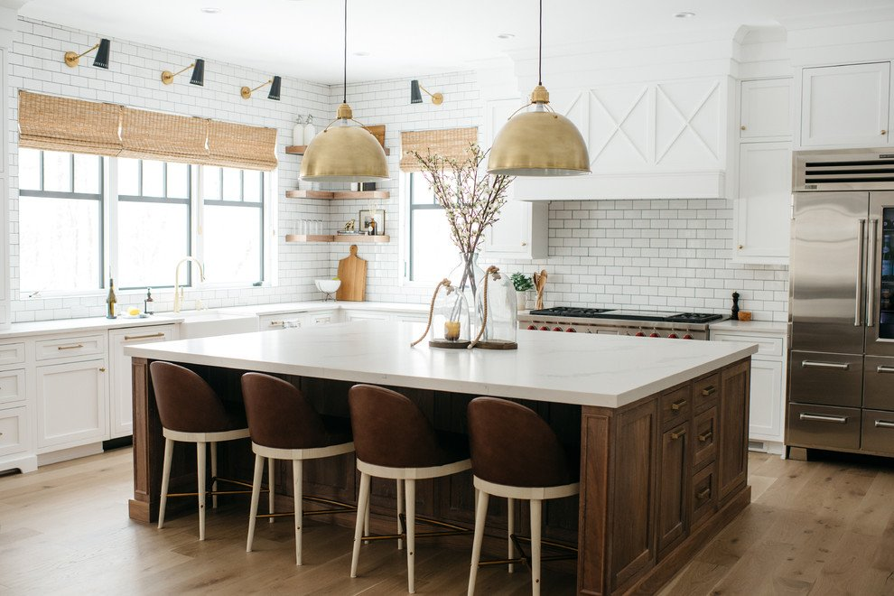 Farmhouse White Kitchen Cabinets And Gold Accents