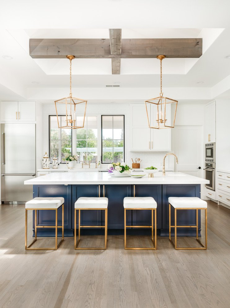 Blue And White Kitchen Cabinets For A Pop Of Color