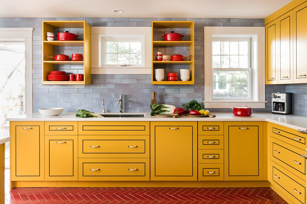 Sunny Yellow Painted Kitchen Cabinets