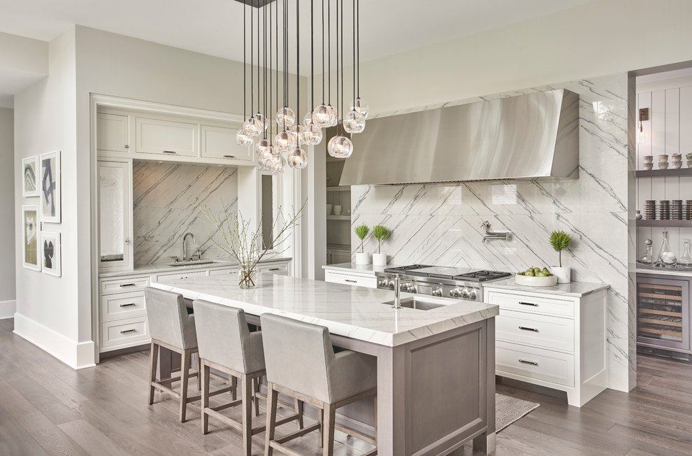 Two-Tone Grey And White Kitchen Cabinets