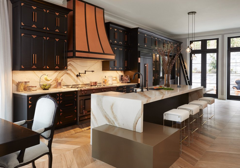 Black Shaker Cabinets With Copper Hardware