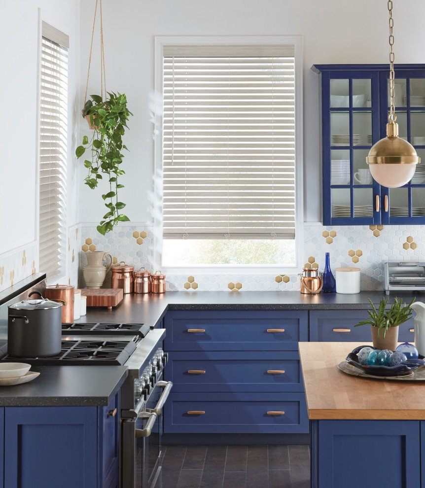 Navy Blue Kitchen Cabinets With Gold Hardware