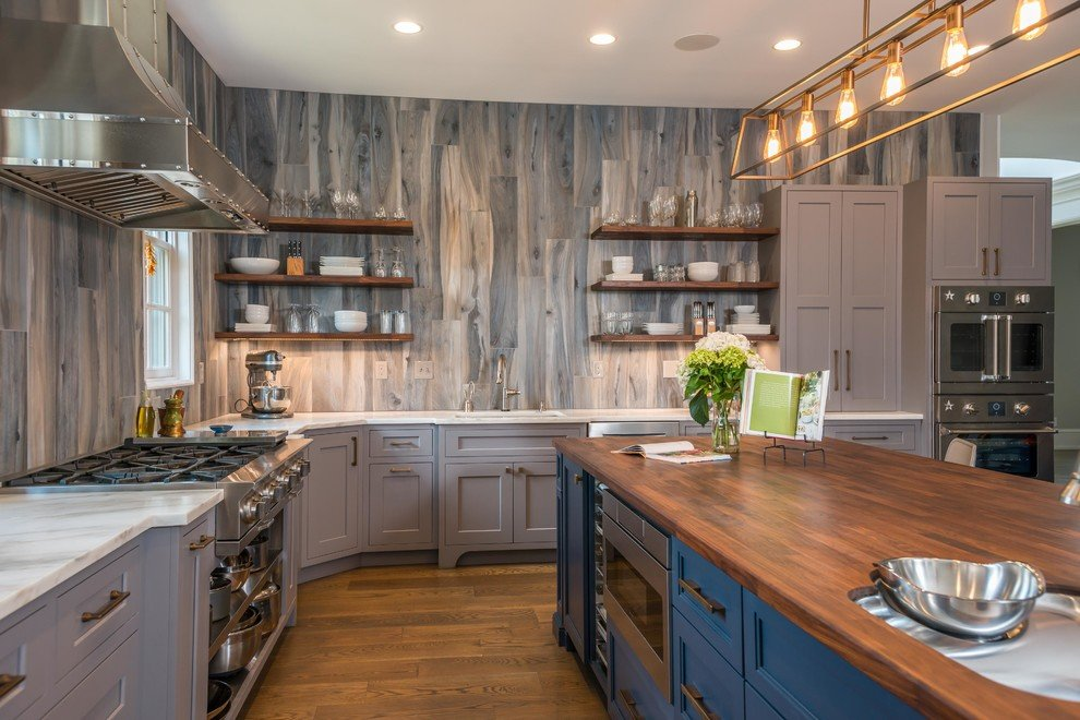 Dark Blue and Grey Kitchen Cabinets