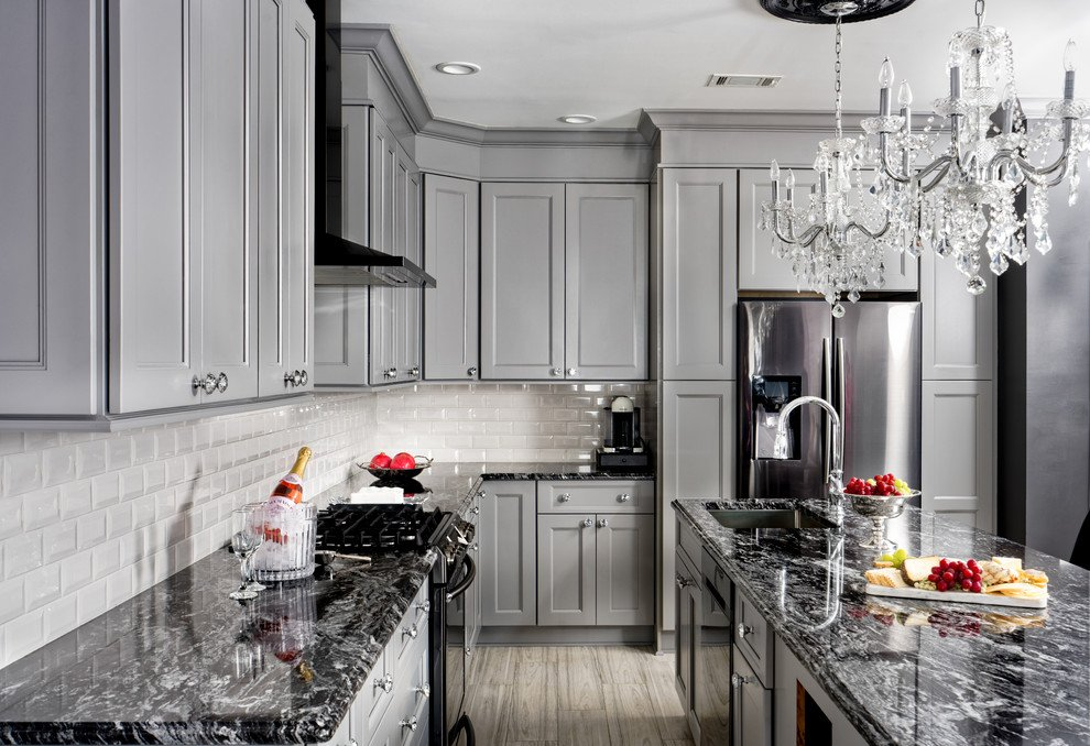 Grey Kitchen Cabinets With Black Granite Countertops