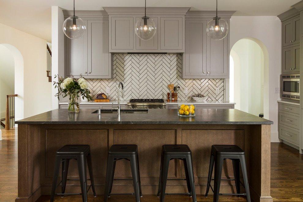 Light Grey Kitchen Cabinets With Dark Countertops