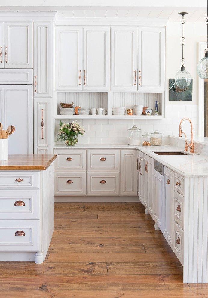White Farmhouse Kitchen With Brass Hardware