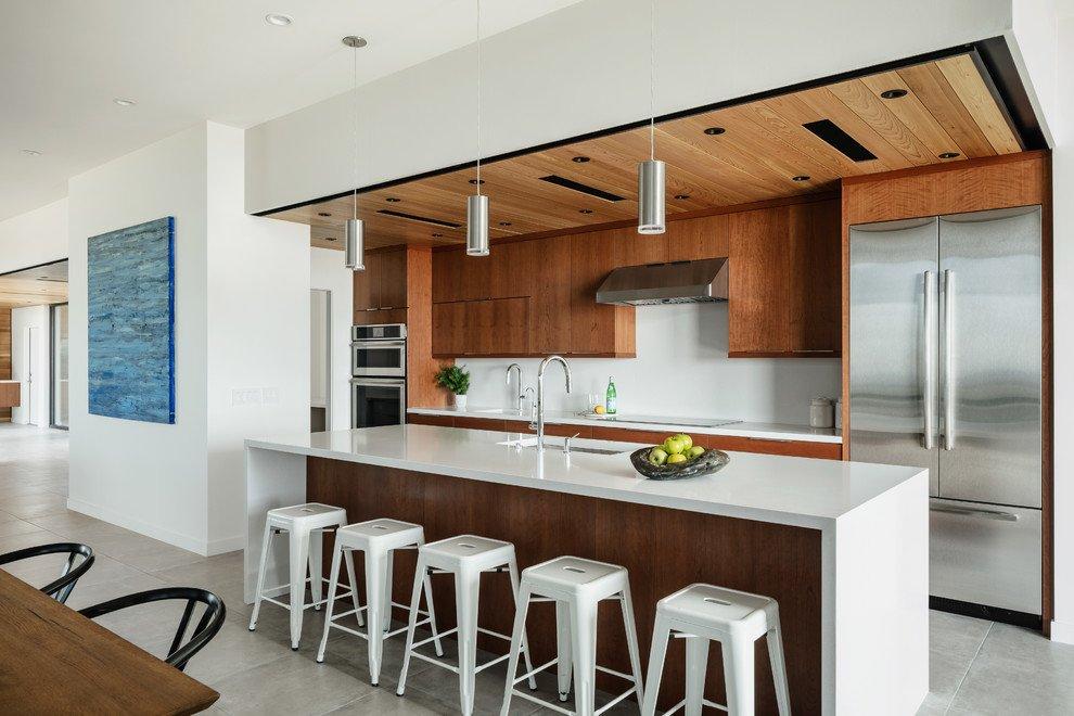 Cherry Kitchen Cabinets With White Quartz Countertops