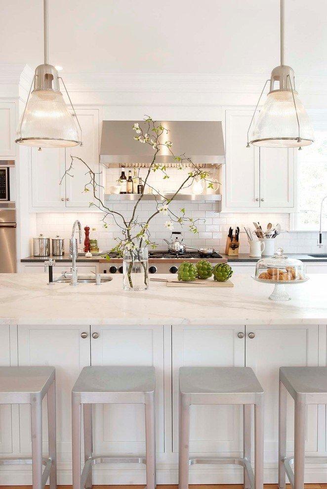 White Kitchen With White Quartz Countertops