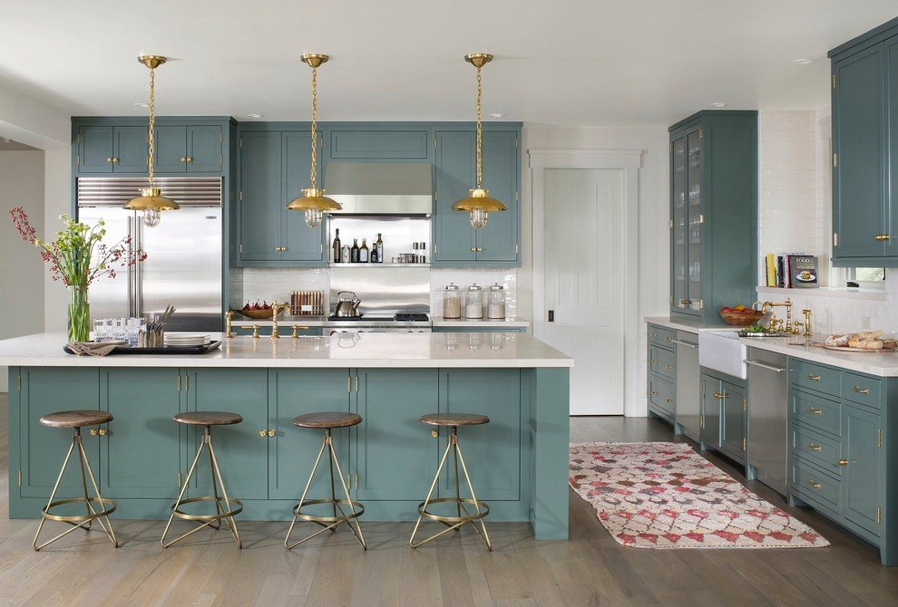 Blue-Green Kitchen Cabinets To Spice Things Up