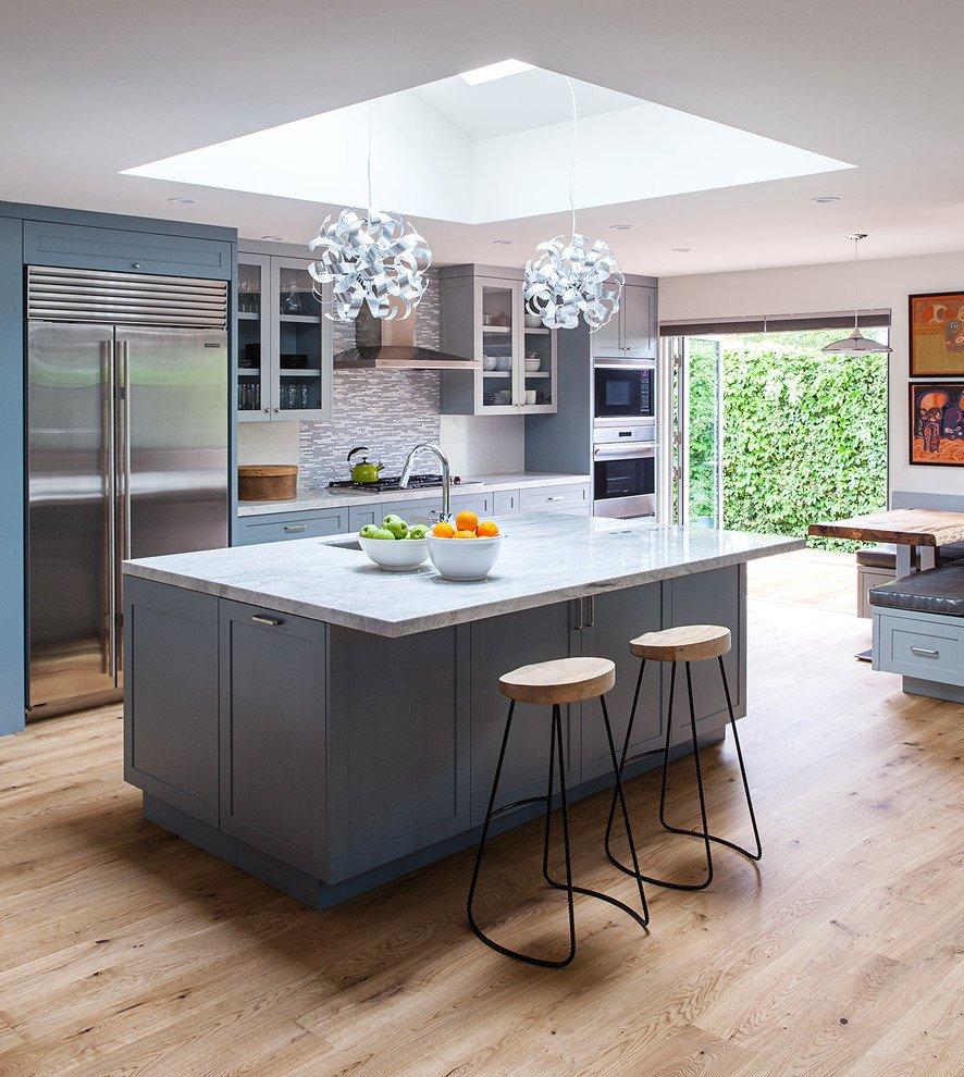Modern Blue Kitchen Cabinets In A Minimalist Kitchen
