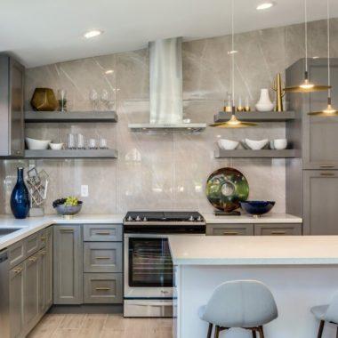 10X10 Modern Gray Kitchen Cabinet